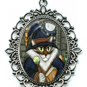 Wizard Cat Necklace Merlin Magician Cat Cameo Pendant 40x30mm Gift for Cat Lovers Jewelry