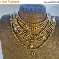 ON SALE Goldette Multi 9 Strand Vintage Gold Chain Necklace 1950's 1960's Retro Collectible Vintage Old Hollywood Regency Glamour Jewelry