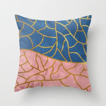 Textured blue - pink & gold Throw Pillow by vivigonzalezart