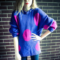 Repurposed / Recycled Vintage Periwinkle Purple Pink Polka Dot Stud Sweater Collar Oversized Sweater