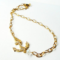 Gold Anchor  Necklace, Anchor Clear Crystal Sideways Chainmaille Necklace, Nautical Jewelry