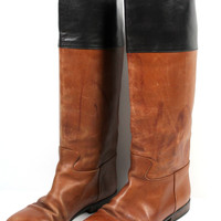 Ecco Vintage Riding Boots Leather Lined Sz 38 US 7.5/8