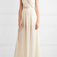 Elie Saab - One-shoulder lace-paneled silk-blend crepe jumpsuit