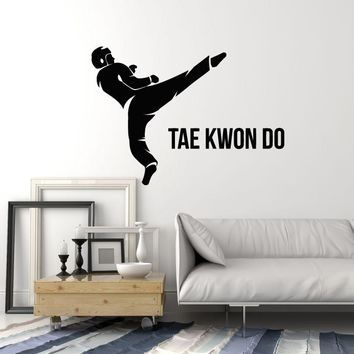 Vinyl Wall Decal Taekwondo Fighter Martial Art Lettering Fight Club Stickers Mural (ig5583)