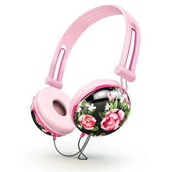 Pastel Black Floral Noise Isolating Headphones