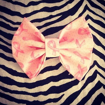 Pink Cancer Ribbon Hair Bow Barrette donation by littledevildecoxo
