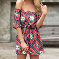 Womens Sexy Floral Print Tube Dress