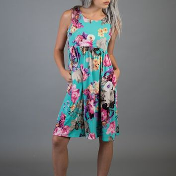 Jade Floral Sleeveless Midi Dress with Pockets