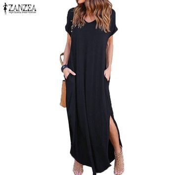 2018 Summer ZANZEA Fashion Women Maxi Dress V Neck Short Sleeve Casual Long Shirt Dress Slit Sundress Loose Solid Kaftan Vestido