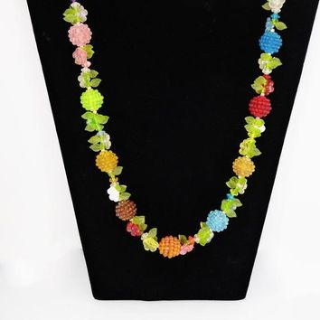 Fruit and Flower Beaded Necklace Fun Plastic Beads in Multi Colors Berries and Flowers with Green Leaves, Mid Century Vintage 1950s Pullover