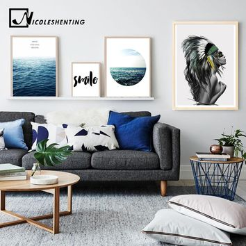 Nordic Style Girl Motivational Poster and Print Tropical Sea Landscape Wall Art Canvas Painting Picture for Living Room Decor