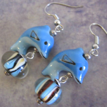 Blue Dolphin with Glass Ball Earrings