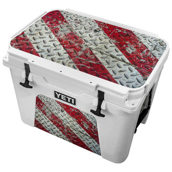 Grungy Vintage Red and White Diamond Plate Skin for the Yeti Tundra Cooler