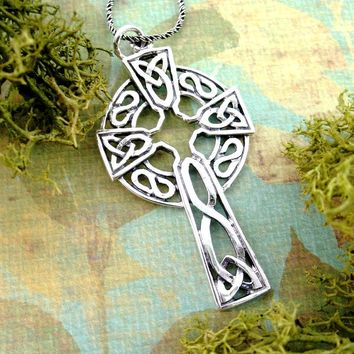 Large Celtic Cross Necklace with Knots in Sterling Silver