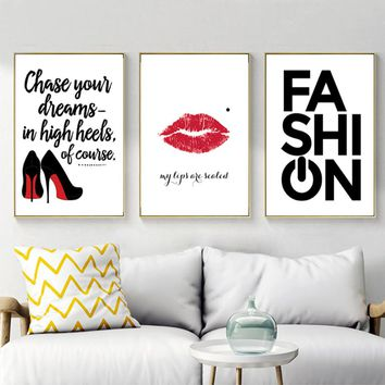 Fashion Lipstick High Heels Girls Canvas Paintings Wall Art Pictures Nordic Poster and Prints for Kids Bedroom Home Decor