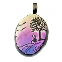 Sunset Contemplation Fused Glass Art Pendant Dichroic Picture Necklace