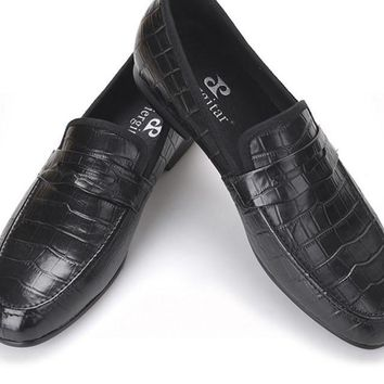 Handmade Crocodile embossed Genuine Leather Men's shoes party and wedding Men male's Causal Flats