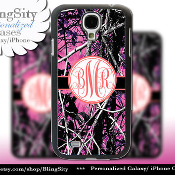 Camo Coral Monogram Galaxy S4 case S5 RealTree Muddy Camo Personalized Samsung Galaxy S3 Case Note 2 3 Cover Country Girl