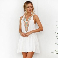 Women's Southwest Boho Style Vintage Casual White Summer Pleated Tunic Mini Dress