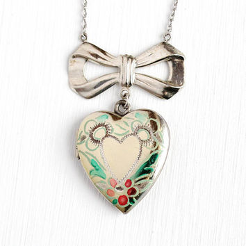 Vintage Heart Locket - Sterling Silver Enamel Pendant Necklace - Circa 1940s Flower Bow Lavalier Romantic Floral Picture Photograph Jewelry