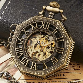 Vintage Skeleton Steampunk Mechanical Pocket Watch Polygon Hollow Bronze Silver China Pendant Clock Hand Wind Women Men Gift Box