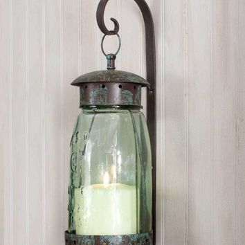 Primitive Rustic Country Style Quart Mason Jar Hanging Wall Sconce Candle Holder
