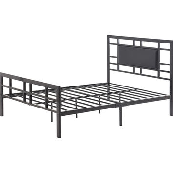 Full Size Modern Black Metal Platform Bed Frame With Upholstered Headboard
