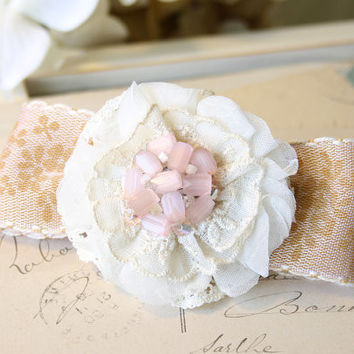 Bridal Hair Barrette - Floral Hair Bow in Blush Pink, Ivory and Rose Gold