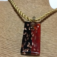 Lampworked pendant necklace on gold twisted cord, slip knot clasp, red and black