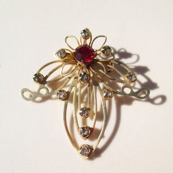 fleur de lis Rhinestone Smoky Diamond & Ruby Flower Brooch Pin Vintage