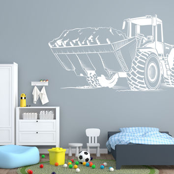Wall Vinyl Decal Tractor Excavator Farm Work Machine Interior Decor Unique Gift z4706