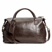 Leather weekend bag - Light brown - Men | H&M GB