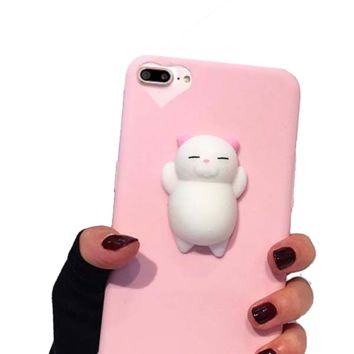 Squishy Phone Case for iPhone 7 6 6s Plus Cover 3D Cute Stress Reliever Toy Soft Silicon Squishi Squeeze Cat Kitty Housing Coque