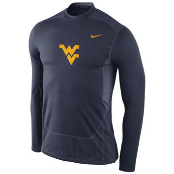 West Virginia Mountaineers Nike Pro Combat Hyperwarm Max Shield Performance Crew – Navy Blue