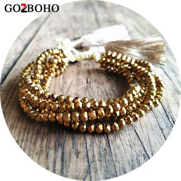 Go2boho Dropshipping Gold Bracelet 4MM Faceted Crystal Bracelets 6 Wrap Pulseira Charm Women Jewelry Gift Tassel Handmade Beaded