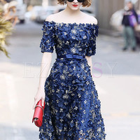 Elegant Stereoscopic Flower Slash Neck A-line Dress
