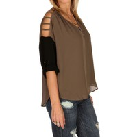 Sale-charcoal Lattice Dolman Top