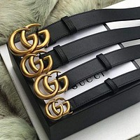 Perfect GUCCI Men Woman Fashion Smooth Buckle Leather Belt