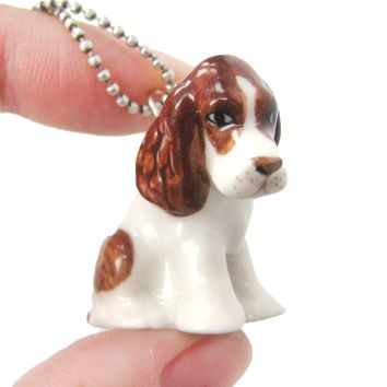 SALE : Basset Hound Puppy Dog Porcelain Ceramic Animal Pendant Necklace | Handmade