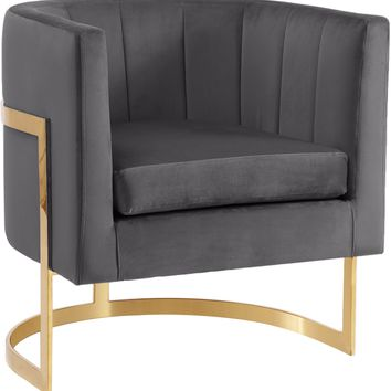 Carter Grey Velvet Accent Chair
