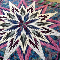 ON SALE Feathered Star in Shades of Purple, Blues, Greens and Rose Wall Hanging or Generous Sized Lap Quilt