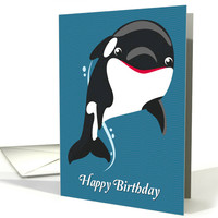 Cartoon Orca Whale with Wavy Background for Birthday card
