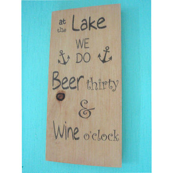 Lake rules sign - Lake sign - Rustic lake sign - Beach sign - Beach wall decor - Lake wall decor - Lake house sign - Wood sign