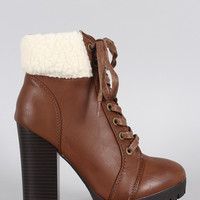 Bamboo Shearling Cuff Combat Lace Up Heeled Ankle Boots