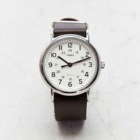 Timex Leather Weekender Watch- Brown One