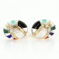 Estate Jewelry Asch Grossbardt 14 Karat  Yellow Gold Oval Inlaid Cocktail Earrings
