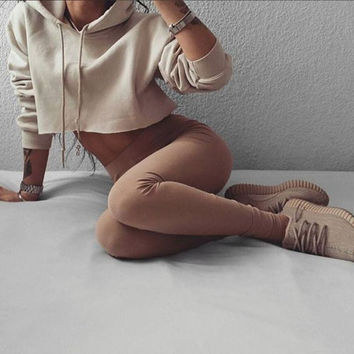 Women's Trending Popular Fashion 2016 Sport Solid Crop Top Bare Midriff Casual Simple Pullover Hoodie Sweatshirt Blouse Shirt  _ 9195