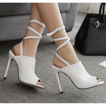 Buckle Fashion Women Peep Toe High Heels Shoes