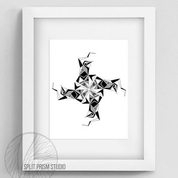 Original Art Print, Geometric Print, Navajo Art, Digital File, Wall Art, Black and White, Minimal, Abstract, Modern Art, Instant Download