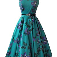 Teal Green Butterfly Hepburn Dress